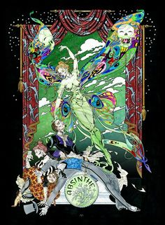 Absinthe Green Fairy Art Print by Maxine Miller - would consider buying this piece, it's so cool! Love the hallucinatory wings and the indulging bohemians.