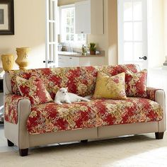 Sure Fit Waverly Ballad Bouquet Loveseat Furniture Pet Cover ($50) ❤ liked on Polyvore featuring red