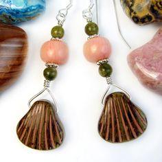 Glass Seashell Earrings Coral Unakite Sterling Silver Handmade Jewelry   PrettyGonzo - Jewelry on ArtFire
