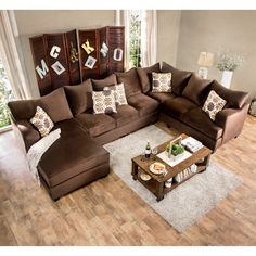 ... Sofa With Chaise   Welcome Guests To Sit And Stay A Spell On This  Furniture Of America Hamilton Sectional Sofa With Chaise . Its Chocolate  Brown Fabric ...