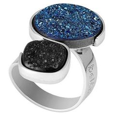 Modern, contemporary cocktail/statement ring in Silver with black and blue druzy gemstones. . #druzy #druzy ring #statement ring #large druzy ring #drusy jewellery #drusy jewelry #druzy stone #blue druzy #black druzy Druzy Jewelry, Druzy Ring, Gemstone Rings, Jewellery, Blue Art, Blue Fashion, Cocktail Rings, Statement Rings, Ring Designs