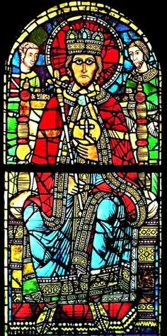 Romanesque Stained Glass Panel Depicting King Charlemagne I Strasbourg Cathedral