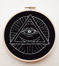 All Seeing Eye Pyramid Hand Embroidery Occult by cardinalandfitz
