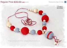 Eco - Friendly Nursing necklace - babywearing necklace - breastfeeding necklace - sling accessory. Grey and Red gift under 25  This amazing nursing