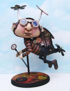 """Steampunk Finnyus  This incredibly imaginative Steampunk creation standing 8"""" x 14"""" on a wooden base is sure to provide many"""
