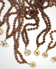 Merchant Society Chakra Sandalwood Mala necklaces. #merchantsociety #merchantsocietymalas #chakramalas