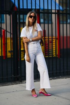 casual white for summer with pink kitten heels