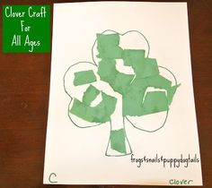 Fine Motor skills clover craft for toddlers and preschoolers