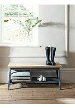Oak & Charcoal Bench - Indoor Benches - Wooden, Upholstered & Storage - Luxury Seating - Luxury Home Furniture Home Storage Units, Hallway Storage Bench, Hallway Seating, Bench With Storage, Storage Solutions, Hallway Furniture, Bench Furniture, Furniture Storage, Furniture Design
