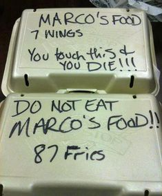 Marco doesn't share food. Marco will probably not win the awesome roommate award