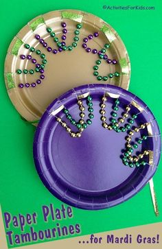 Paper plate tambourine is a perfect Mardi Gras Activity for Kids.  Easy enough for pre-school children and inexpensive to make.  Find more Mardi Gras crafts for kids at ActivitiesForKids...