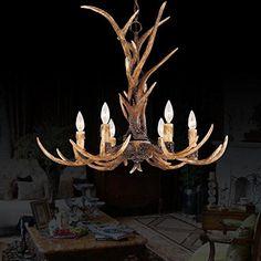 EFFORTINC® Antlers vintage resin 6 light chandeliers, American rural countryside antler chandeliers,Living room,Bar,Cafe, Dining room deer horn chandeliers EFFORTINC http://www.amazon.com/dp/B00ZCI4PRO/ref=cm_sw_r_pi_dp_SC80vb0C1FZAQ
