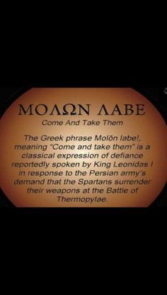 Molon Labe - Come and take them. Pro Gun, Great Quotes, Inspirational Quotes, Motivational, Shall Not Be Infringed, Molon Labe, Warrior Quotes, Dont Tread On Me, Gun Rights