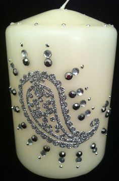 Hand Decorated  Candle  . £10.00, via Etsy.