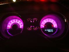 Add pink lighting to your gauges for some extra style points! Pink Camaro, Truck Accessories, Mustang Accessories, Van Organization, Car Head, Girly Car, Chevy Girl, Car Interior Decor, Lux Cars