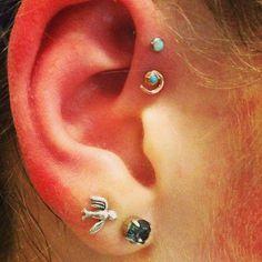 Opal Forward Helix Piercing Jewelry at MyBodiArt