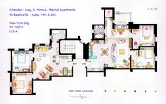"Monica-Rachel and Chandler-Joey Apartments from ""FRIENDS"".  This is a hand drawed plan, in scale, coloured with colour pens and with full details of furniture and complements.  The design is made according with the ""real"" apartments respecting the spaces, proportions, furniture and objets presents in the studio. (Some sets have changed throughout the different seasons). You can buy an original artworks here: http://www.etsy.com/shop/FLOORPLANSTV or writting me to: ializar@hotmail.com"