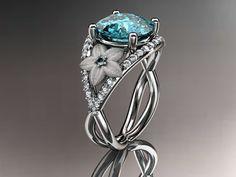 14kt  white gold diamond floral engagement ring ADLR167 3.50ct  blue topaz