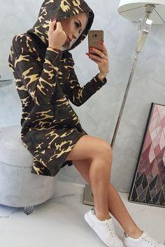 Rochie sport-casual stil militar asimetrica Camo Dress, Khaki Dress, Shirt Dress, Dress Making, Underarm, Modeling, Brown, Cotton, Sport