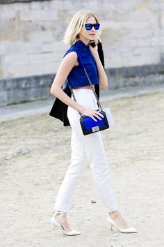 Top and trousers by Au Jour Le Jour, shoes by Valentino, bag by Chanel.  Paris Fashion Week, Fall 2013.