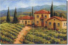 "Chianti Village by Joanne Morris - Tuscan Vineyard Ceramic Tile Mural 17"" x 25.5"" Kitchen Shower Backsplash by Artwork On Tile, http://www.amazon.com/dp/B000Y1OT02/ref=cm_sw_r_pi_dp_YUrrqb1B8ZB6E"