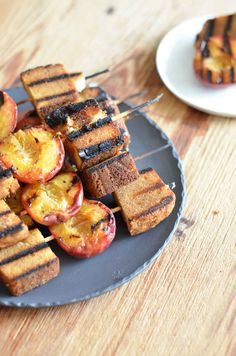 Grilled Peaches and Pound Cake    Grilled desserts are the perfect way to celebrate summer! For these grilled peaches and pound cake skewers, fresh peaches and thick slices of frozen pound cake are threaded onto skewers, brushed with a honey butter full of cinnamon, and then grilled until the outsides caramelize. This is a sweet addition to any cookout! Clickthrough for the full recipe and pin for later!