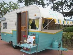 love the awning - Trailer, camping, retro vintage, teal camper