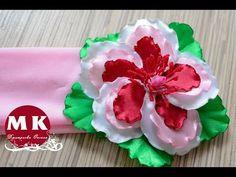 Мастер-класс в технике Канзаши. Сегодня в мастер-классе мы делаем своими руками украшение для волос - повязку для головы с крупным цветком Фиалкой Канзаши из...