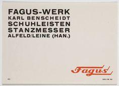 Herbert Bayer. Fagus-Werk, Schuhleisten, Stanzmesser. 1926