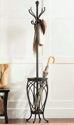 Metal Hall Tree Umbrella Stand Coat Rack Home Entryway Storage Store Furniture #MetalHallTree