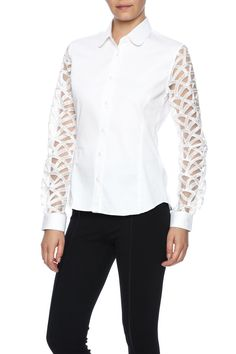 03009440a Slim shirt with long lace sleeves. Baby collar. Embroidery near buttonhole  on left arm