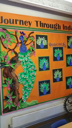 Peacocks of India School Displays, Classroom Displays, Classroom Themes, Door Displays, Preschool Classroom, Kindergarten, Board Decoration, Class Decoration, School Decorations