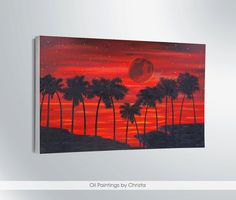 RED MOON painting, large painting, wall decor, oil painting, 24x36ini, 2015, palms, sea, moonlight, wall decor,gift ideas, home decor, art