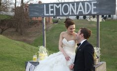 Bride and Groom enjoying our Vintage Lemonade Stand at their wedding. The Vanderbilt Mansion in Centerport, Long Island NY. Long Island Ny, Lemonade, Groom, Bride, Mansions, Wedding Dresses, Vintage, Mansion Houses, Bridal Dresses