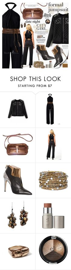 """Date Night: Jumpsuit Style"" by katjuncica ❤ liked on Polyvore featuring Louis Vuitton, De Siena, AeraVida, Rachel Entwistle, H&M, Benefit, DateNight, formaljumpsuit and bhalo"