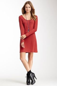 Sweater Dress - Go Couture; i'm not sure if I like the short boots, I would wear it with long boots