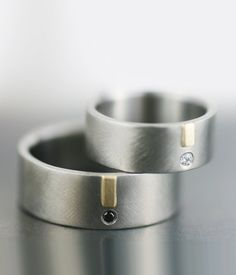 love palladium - alternative wedding ring set  unique diamond gold and by lolide
