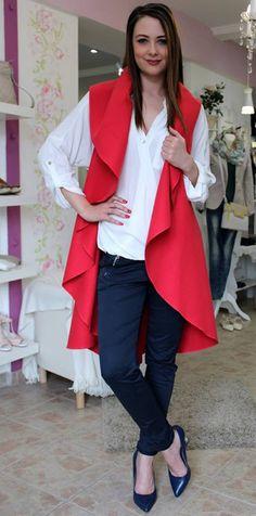 Red waistcoat Red Waistcoat, Sweater Jacket, Duster Coat, Coats, Sweaters, Jackets, Fashion, Bebe, Down Jackets