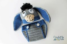 """""""Crochet Baby Donkey Hat and Diaper Cover Set, Halloween Costume.""""    """"My Eeyore set appears on The Barns & Noble Book Blog: Trick or Treat! October 1st, 2013. Visit the blog here: http://www.barnesandnoble.com/blog/16-halloween-costumes-for-your-little-book-nerd/""""         Courtesy: CrochetbyPalm, Virginia (USA)."""