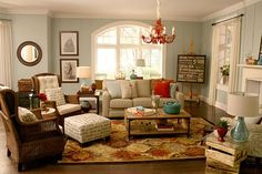 One of my all-time favorite rooms! Is similar in size and shape to our family room and I adore everything about it! 100% copy-able!