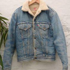Vintage 90's Levis Oversized Denim Jacket Fur Lined Mens Jean Urban Outfitters
