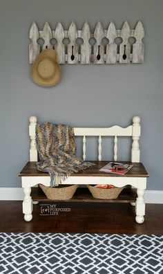 Headboard Bench Ideas repurposed furniture projects that you can make this weekend. Lots of ideas and directions for each headboard bench. White Twin Headboard, Old Headboard, Headboard Benches, Headboards For Beds, Distressed Headboard, Headboard Ideas, Picket Fence Headboard, Bedroom Benches, Queen Headboard
