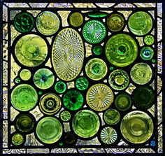 Green Bottoms II (stained glass using the bottoms of bottles, vases, serving plates, and stemware)