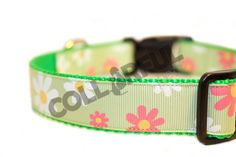 Flowers Daisy Green/Pink/White Large Nylon by collarfulpets, $15.49