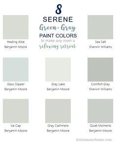 8 Serene Green-Gray Paint Colors – Kristin Maier Home - Modern Green Paint Colors, Paint Color Schemes, Bedroom Paint Colors, Interior Paint Colors, Paint Colors For Living Room, Paint Colors For Home, Wall Colors, House Colors, Gray Green Paints
