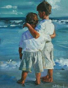 "Daily Paintworks - ""Big Brother"" - Original Fine Art for Sale - © Sherrie Hilliard Seaside Art, Beach Art, Painting People, Am Meer, Beach Scenes, Fine Art Gallery, Portrait Art, Painting & Drawing, Art For Kids"