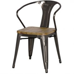 Tolix Metal Arm Chair Wood Seat, Gunmetal   Memoky.com
