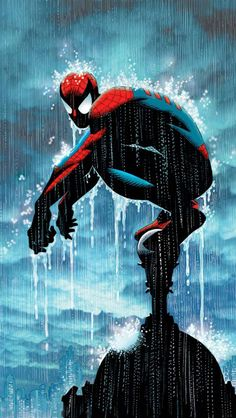 Spiderman in the rain in color iPhone5 Wallpaper (640x1136)