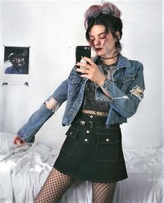 Choker necklace, denim jacket, howling wolf printed crop top, skirt & oversized fishnet bodysuit by athousandchapters