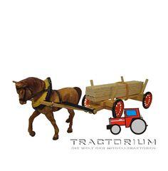 Hausser Elastolin 4801 Pferdegespann mit Holzanhänger 1/32